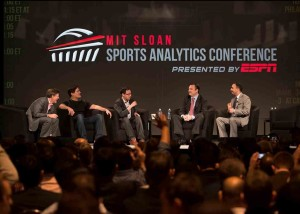 Panel at SSAC 2013 featuring (left to right) Michael Lewis, Marc Cuban, Nate Silver, Daryl Morey, and Paraag Marathe.